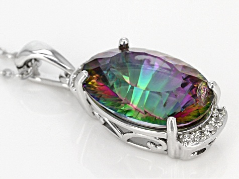 Pre-Owned Multi Color Mystic Quartz® Sterling Silver Enhancer With Chain 10.34ctw