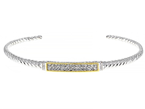 Pre-Owned White Crystal Rhodium And 18k Gold Over Brass Two Tone Bracelet