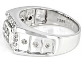 Pre-Owned White Diamond Rhodium Over Sterling Silver Mens Ring 0.65ctw