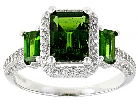 Pre-Owned Chrome Diopside Rhodium Over Sterling Silver Ring 2.51ctw