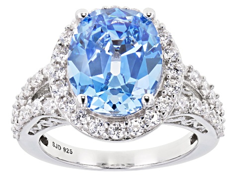 Pre-Owned Fancy Blue And White Zirconia From Swarovski ® Rhodium Over Sterling Silver Ring 11.56ctw