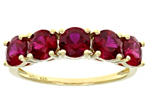 Pre-Owned Scott's holiday collection Red lab created ruby 18k yellow  gold over silver band ring 2.6