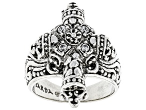 "Pre-Owned White Zircon Sterling Silver ""Flawless Glory"" Cross Ring"