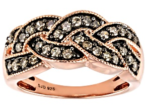 Pre-Owned Champagne Diamond 14k Rose Gold Over Sterling Silver Band Ring 0.55ctw