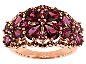 Pre-Owned Raspberry color rhodolite 18k rose gold over silver ring 4.61ctw