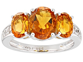 Pre-Owned Orange Madeira Citrine Rhodium Over Silver Ring 2.93ctw