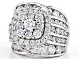 Pre-Owned White Cubic Zirconia Rhodium Over Sterling Silver Ring 10.59ctw