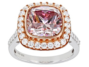 Pre-Owned Fancy Pink And White Zirconia From Swarovski ® Rhodium Over Sterling Silver Ring 9.63ctw