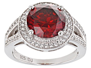Pre-Owned Red And White Cubic Zirconia Rhodium Over Sterling Silver Ring 7.10ctw (4.14ctw DEW)