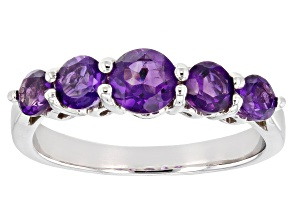 Pre-Owned Purple amethyst rhodium over silver band ring 1.03ctw