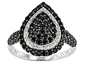 Pre-Owned Black Spinel Rhodium Over Silver Ring 1.19ctw
