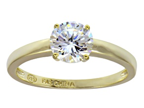 Pre-Owned Bella Luce 2.06ct 18k Yellow Gold Over Sterling Silver Solitaire Ring