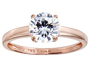 Pre-Owned Bella Luce 2.06ct Round Diamond Simulant 18k Rose Gold Over Sterling Silver Ring