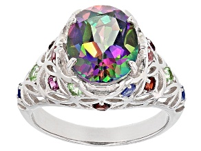 Pre-Owned Green Mystic Fire® Topaz Rhodium Over Sterling Silver Ring 4.39ctw