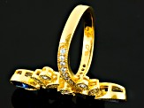 Pre-Owned Blue And White Cubic Zirconia 18k Yellow Gold Over Sterling Silver Ring 3.22ctw