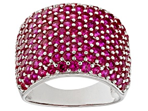 Pre-Owned Red Lab Created Ruby Rhodium Over Sterling Silver Ring 5.10ctw