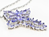 Pre-Owned Blue Tanzanite Rhodium Over Silver Pendant With Chain 6.71ctw