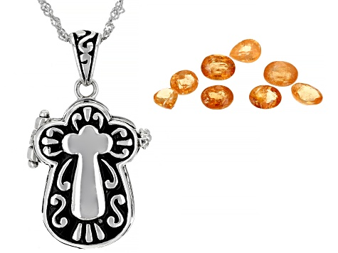 Pre-Owned Orange Mandarin Garnet Sterling Silver Prayer Box Pendant With Chain 1.70ctw
