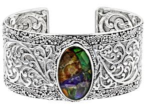 Pre-Owned Multicolor Ammolite Doublet Silver Bracelet