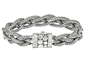 Pre-Owned White Zircon Silver Woven Chain Bracelet 0.50ctw