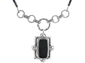 Pre-Owned Volcanic Rock And Black Spinel Bead Sterling Silver Necklace