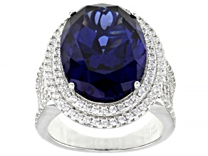 Pre-Owned Blue And White Cubic Zirconia Rhodium Over Sterling Silver Ring 24.80ctw