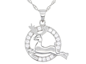 Pre-Owned White Cubic Zirconia Rhodium Over Sterling Silver Reindeer Pendant With Chain 0.95ctw