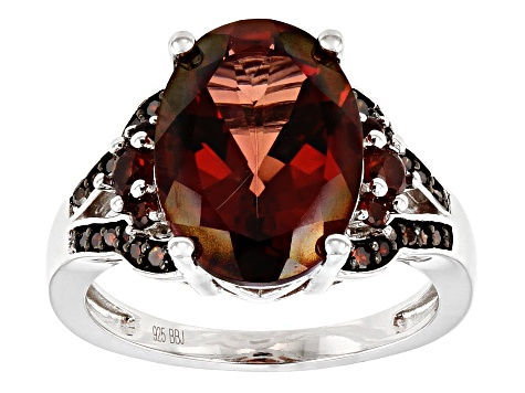 Pre-Owned Red labradorite rhodium over silver ring 4.67ctw