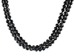 Pre-Owned Black Bead Silver Tone Triple Strand Necklace