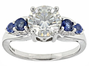 Pre-Owned Moissanite Fire® 1.90ct DEW And .28ctw Blue Sapphire Platineve™ Ring