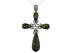 Pre-Owned Connemara Marble Sterling Silver Celtic Cross Pendant with Chain
