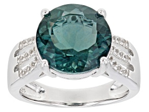 Pre-Owned Teal Fluorite Rhodium Over Sterling Silver Ring 5.70ctw