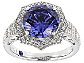Pre-Owned Blue And White Cubic Zirconia Platineve Ring 6.44ctw