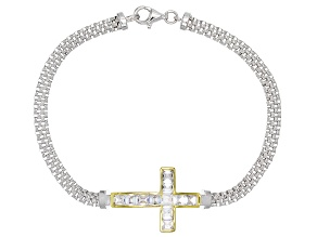 Pre-Owned White Cubic Zirconia Rhodium Over Sterling Silver Cross Bracelet 3.14ctw