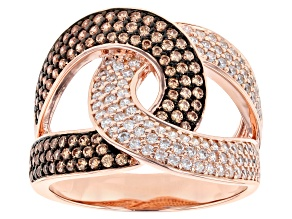 Pre-Owned Champagne and White Cubic Zirconia 18k Rose Gold Over Sterling Silver Ring 1.99ctw
