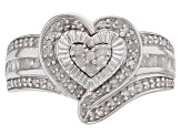 Pre-Owned White Diamond Rhodium Over Sterling Silver Ring 0.50ctw