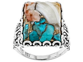 Pre-Owned Kingman Turquoise Blended With Spiny Oyster Shell Rhodium Over Silver Ring