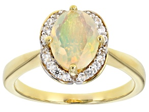 Pre-Owned Multicolor Ethiopian opal 18k yellow gold over silver ring .93ctw