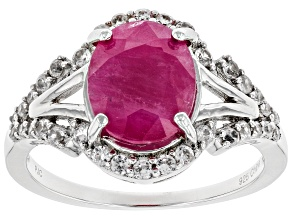 Pre-Owned Red Burma Ruby Rhodium Over Sterling Silver Ring 4.70ctw