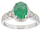 Pre-Owned Emerald Rhodium Over Sterling Silver Ring 1.80ctw