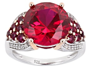 Pre-Owned Red Lab Created Ruby Rhodium Over Sterling Silver Ring 7.61ctw
