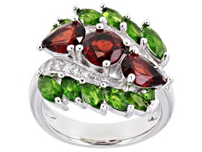 Pre-Owned Red Garnet Rhodium Over Silver Ring 4.07ctw