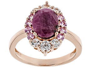 Pre-Owned Red Ruby 18k Rose Gold Over Silver Ring 3.01ctw