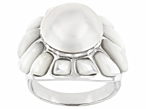 Pre-Owned White Mabe Pearl Sterling Silver Ring