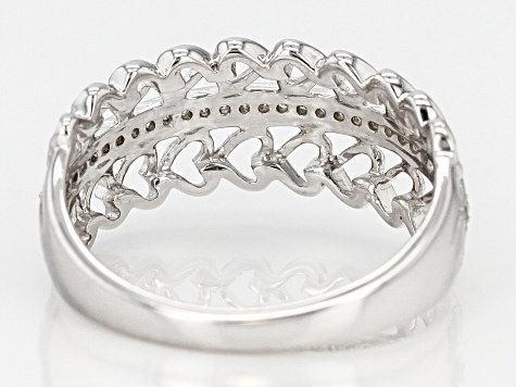Pre-Owned White Diamond Accent Rhodium Over Sterling Silver Heart Ring 0.10CTW