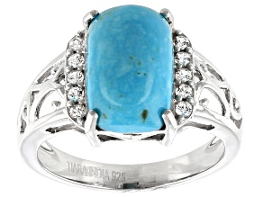 Pre-Owned Blue turquoise rhodium over sterling silver ring .50ctw