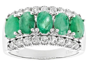 Pre-Owned Green Sakota Emerald Rhodium Over Sterling Silver Ring 2.60ctw