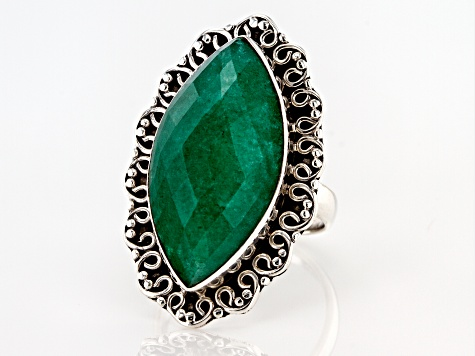 Pre-Owned  Green Beryl Solitaire Sterling Silver Ring