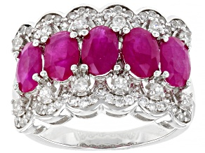 Pre-Owned Burma Ruby Rhodium Over Sterling Silver Ring 2.90ctw