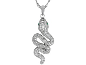 Pre-Owned Green Nanocrystal & White Cubic Zirconia Rhodium Over Silver Snake Pendant With Chain 1.18